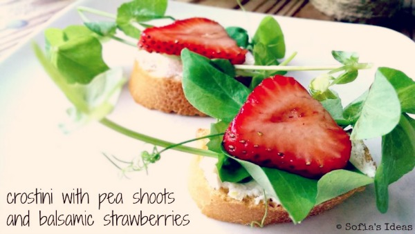 crostini with pea shoots and balsamic strawberries