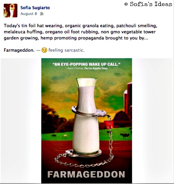 farmageddon. fb status screenshot.SofiasIdeas